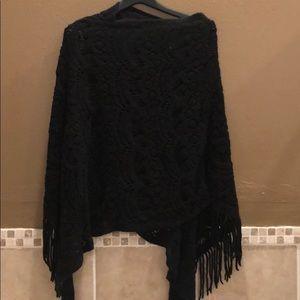 Black crochet shawl from Anthropologie